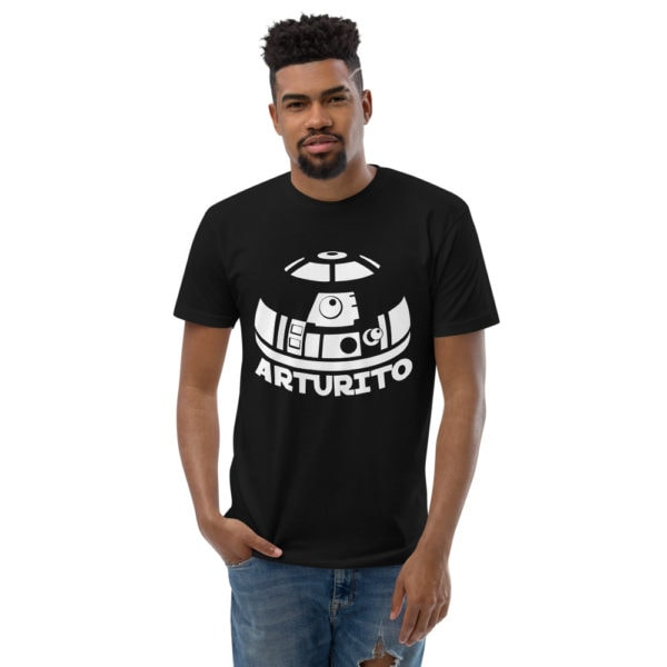 r2d2 - American Czar - A funny take on a classic. This is what it sounded like to me growing up with my cousin named R2D2, I mean, Arturito. Get your's today! With a 65-35 blended fabric, this Next Level Apparel shirt doesn't get any softer. This t-shirt runs a little small, so consider going up a size if you don't like a snug shirt. This t-shirt is comfortable, soft, lightweight, and form-fitting. It's an ideal staple piece for any wardrobe!