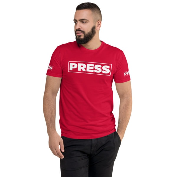 Press - American Czar - Member of the PRESS Freedom of the press in the United States is legally protected by the First Amendment to the United States Constitution. Let people know that you're protected by the Free Speech and Free Press Clauses with this simple but effective print. (neither of which differentiates between media businesses and nonprofessional speakers). This t-shirt is comfortable, soft, lightweight, and form-fitting. It's an ideal staple piece for any wardrobe!