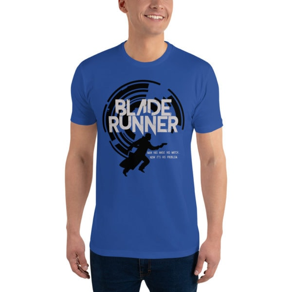 """Blade Runner - American Czar - Blade Runner original Design. This fine quality super soft and comfortable shirt features the words Blade Runner, along with a silhouette of Deckard and the phrase """"Man has made his match... Now it's his problem."""" Simple and great design."""