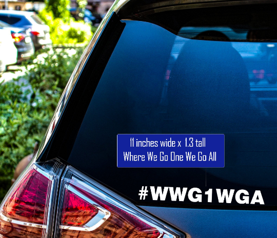 - American Czar - This Limited Edition Qanon #WWG1WGA (Where We Go One We Go All ) Vinyl Sticker is available now for a limited time. Those who know will know. Spread the message, 'Where We Go One We Go All', and do your part to assist Qanon and let the world know #wwg1wga!