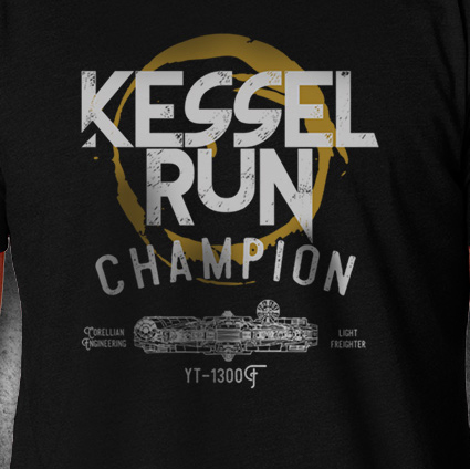 Kessel Run - American Czar - Hokey religions and ancient weapons are no match for a<em>good blaster</em> at your side and this awesome Kessel Run T-shirt.  This fine quality super soft and comfortable shirt features the words Kessel Run Champion, and a front view drawing of the Millennium Falcon along with its manufacturer and model number. Don't be fan, be an aficionado!
